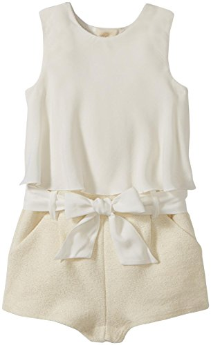 Chloe Ruffled Layered Top with Short Bottom and Embroidered Logo, Beige, 1M by Chloe