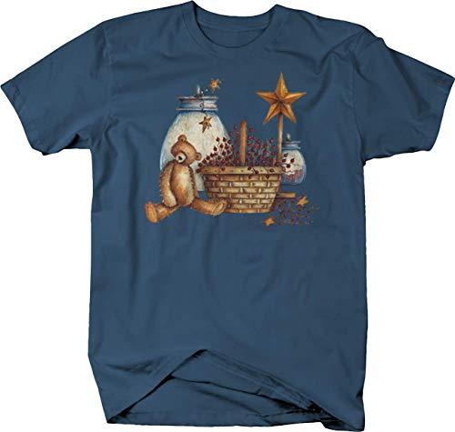Rag Doll Teady Bear Woven Basket Stars Pots Home Animals Tshirt - Medium Denim