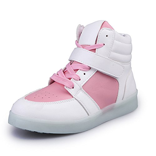 O&N 7 Colors Women Men LED Flashing Sneakers High Top Light Up Shoes Lace Up USB Charging Trainers Gift