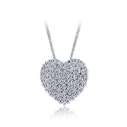 Heart Diamond Pendant necklace Round Diamonds 0.20 carat,14k white gold. (Diamond I1 Necklace)