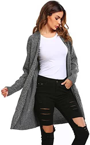 Soteer Women's Basic Open Front Long Sleeve Warm Knit Cardigan Sweater W/ Pockets
