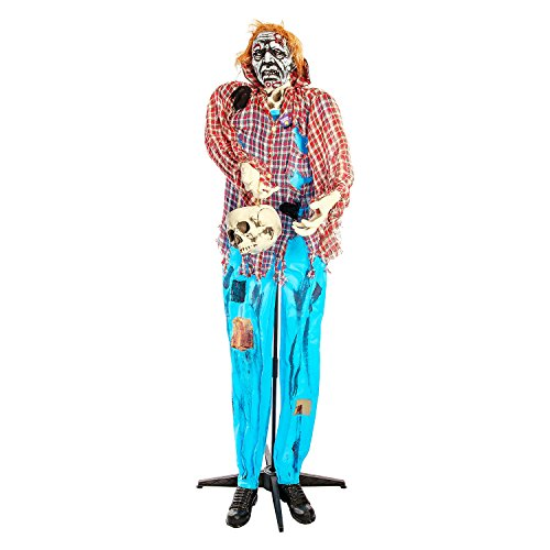 Halloween Haunters Standing 6 Foot Farmer Zombie with Skull Candy Bucket Prop Decoration - Spooky Skeleton Ghoul Head - Haunted House Graveyard Entryway Display