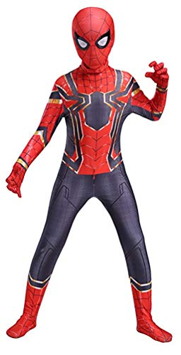 COSFANCY Kids Spider-Verse Cosplay Costume Jumpsuit (Iorn Spider, Kids-L(120-130cm))]()