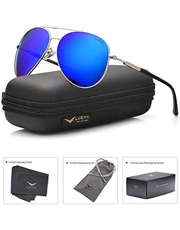 9a9184c7e4 LUENX Mens Womens Aviator sunglasses Polarized   with Case - UV 400  Protection Dark Blue Lens
