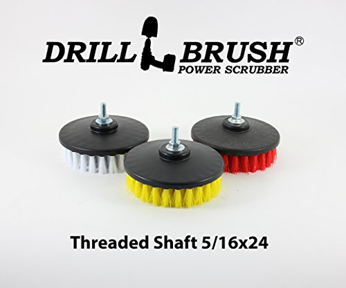 3 Pack Threaded Oscillating Scrub Brushes fit Electric and Air Pneumatic Dual Action Rotary Polishers and DA machines