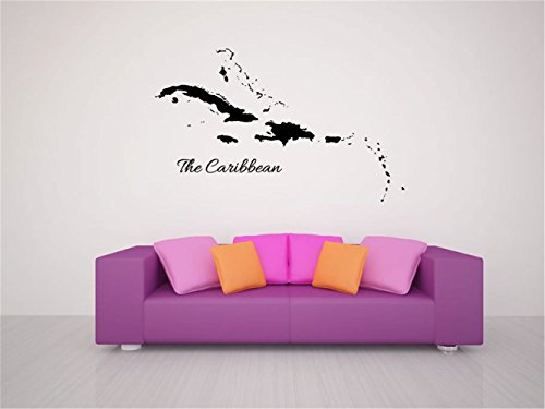 mishet Vinyl Peel and Stick Mural Removable Wall Sticker Decals Caribbean Islands Map Silhouette for living room 22