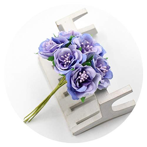 6pcs/lot 3cm Artificial Flower Silk Stamen Rose Bouquet for Wedding Home Decoration Garland Scrapbook Gift Box Craft -
