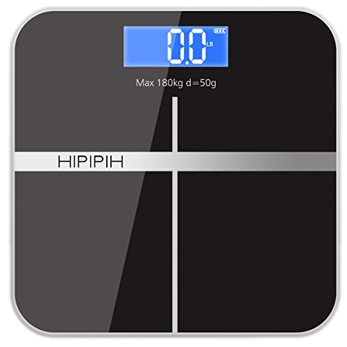 Hippih Smart Weigh Body Digital Precision Scale with Step-On Technology Easy-to-Read Measures Weight 400lb/180kg AAA Glass Square 006 (Digital Weigh Scale)