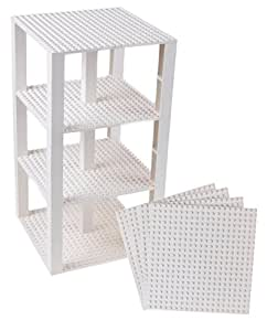 "Premium White Stackable Base Plates - 4 Pack 6"" x 6"" Baseplate Bundle with 30 New and Improved 2x2 Stackers - Compatible with all Major Brands - Tower Construction"