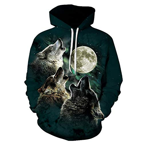 GSYDLMS 3D Hoody Coat Outwear Blouse Fashion Coat Winter Jacket with hat Three-Headed Wolf Digital Print Hooded Couple Sweater ()
