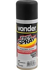 Tinta em spray alta temperatura, preta, com 200 ml, Vonder