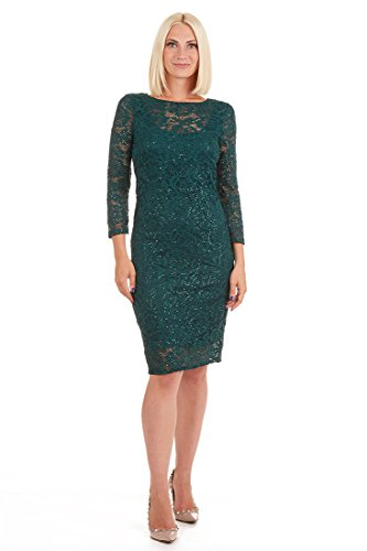 - ONYX Nite Women's Long Sleeve Stretch Sequin Lace Shift Dress Hunter 6