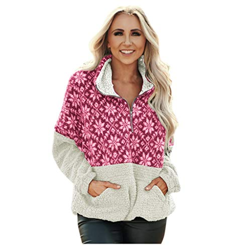 [해외]Msaikric Women`s Pullover Winter Long Sleeve Zipper Fleece Sweatshirt Printed Patchwork Jacket Coat / Msaikric Women`s Pullover Winter Long Sleeve Zipper Fleece Sweatshirt Printed Patchwork Jacket Coat Hot Pink