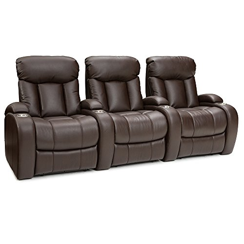 Seatcraft Sausalito Home Theater Seating Manual Recline Leather Gel (Row of 3, Brown) by SEATCRAFT