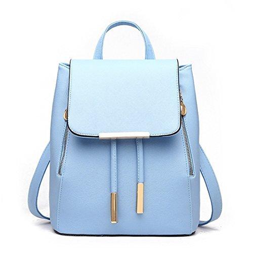 Zainetto da ragazza, donna, borsa a spalla alla moda, zaino borsa in similpelle da viaggio (blu)