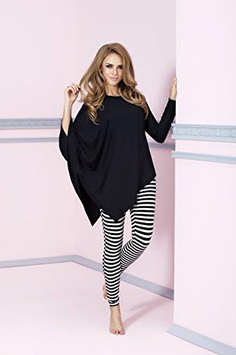 PIGEON Lingerie - Pijama - Manga Larga - para mujer negro/blanco