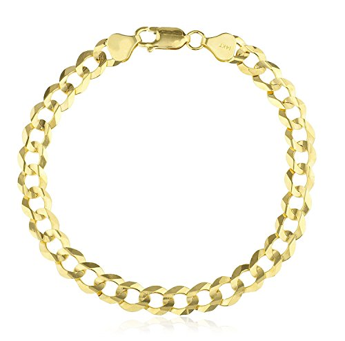 MCS Jewelry 14 Karat Yellow Gold Solid Classic Cuban Curb Link Bracelet Chain 8.5'' (7.5) by MCS Jewelry