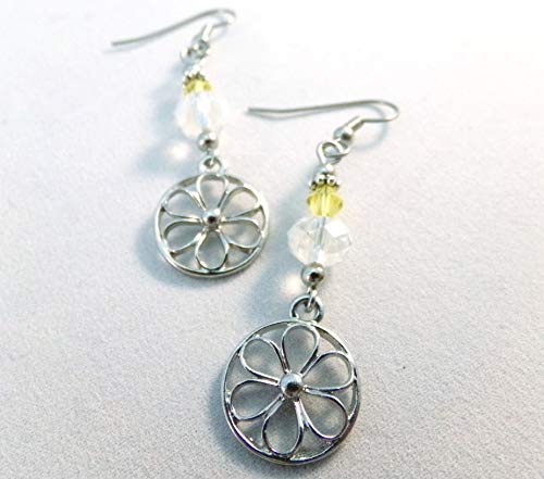 Daisy Charm Crystal Earrings Clear and Yellow