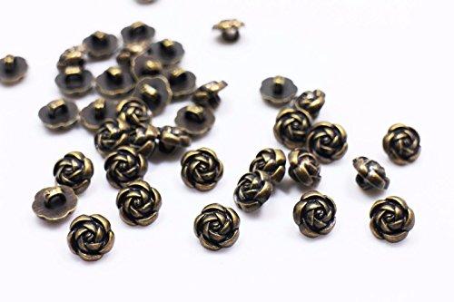 (Antique Bronze Rose Shank Sewing Button 10mm 50pcs)
