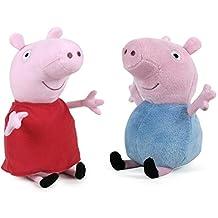 "PEPPA PIG - Set of 2 Plush Toys ""Peppa Pig"" and ""George"" classic dresses (both 10""/27cm) - Quality Super Soft"