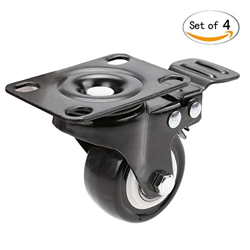 Anfan Swivel Caster Wheels Rubber Base with Top Plate /Plate Caster Wheels Set of 4 (Black) by Anfan (Image #7)