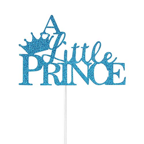 A Litte Prince with Crown Cake Topper for boy Baby Shower First Birthday Party Decorations Blue Glitter