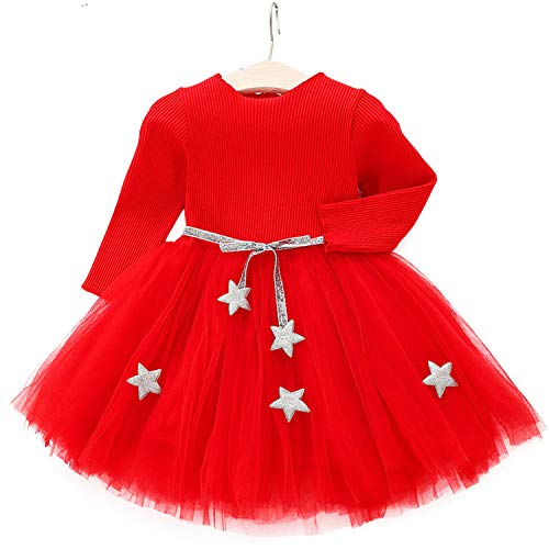 Balalei Baby Dress Princess Girl wear Long Sleeve Knit Dress for 0-6 Year Birthday Party Toddler Costume,As Pic,12M -
