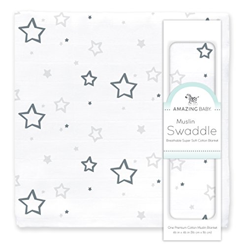 Amazing Baby Muslin Swaddle Blanket, Premium Cotton, Stars, Sterling from Amazing Baby