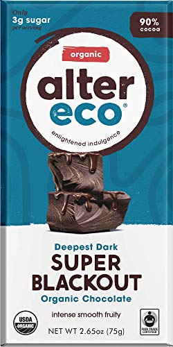 - Alter Eco | Super Blackout Bar | 90% Pure Dark Cocoa, Fair Trade, Organic, Non-GMO, Gluten Free Dark Chocolate Bar, Single Bar (2.65 oz)