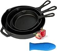 """Kookantage Cast Iron Skillet Pre-Seasoned Cookware-6"""", 8"""", 10"""" Pans 3 Piece Set Heavy Duty Prof"""