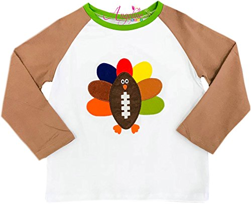 Angeline Boutique Clothing Thanksgiving Colorful Football Turkey Raglan T-Shirt 6/XL by Angeline
