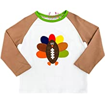 Angeline Boutique Clothing Baby Boys Girls Unisex Thanksgiving Football Turkey Raglan T-Shirt