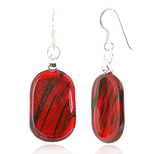 (925 Sterling Silver Hand Blown Venetian Murano Glass Red Black Oval Shaped Dangle Hook)