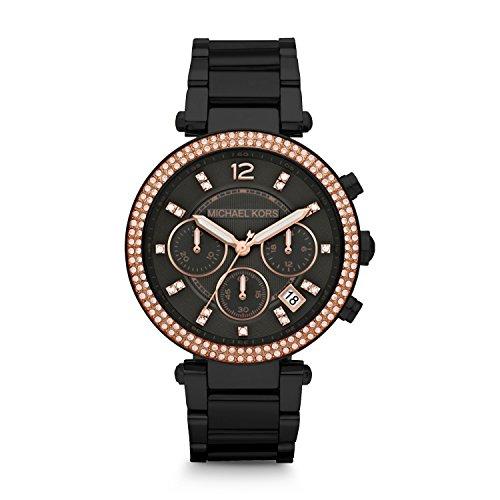 Michael Kors Women's Parker Black Watch - Diamond Kors Michael