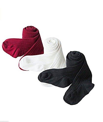 HLJgift 3 Pairs Baby Girls Boys Cotton Leggings Pants Panties Stockings Tights (2-4T, 3-pack(black&white&wine red)