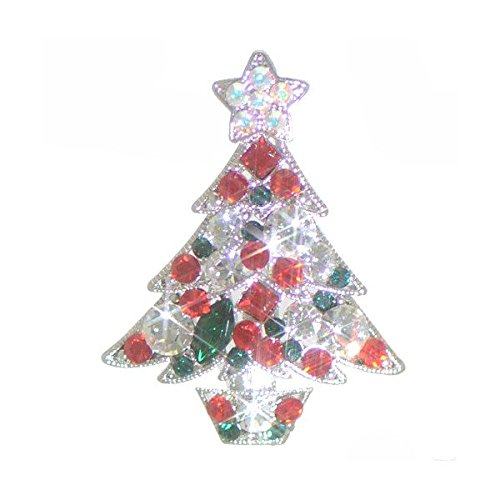 YULETIDE PINE Silver Plated Multi Coloured Crystal Christmas Tree Brooch by Rodney