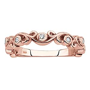Rose Gold Plated .925 Sterling Silver Scrolled Stackable Ring White Cubic Zirconia