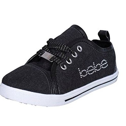 Price comparison product image bebe Toddler Girls Low Top Heather Jersey Sneakers with Rhinestones, Black Black, 9/10