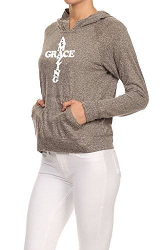 Speckled Coral (Gs-eagle Women's Amazing Grace Cross Graphic Hoodie Small Charcoal)