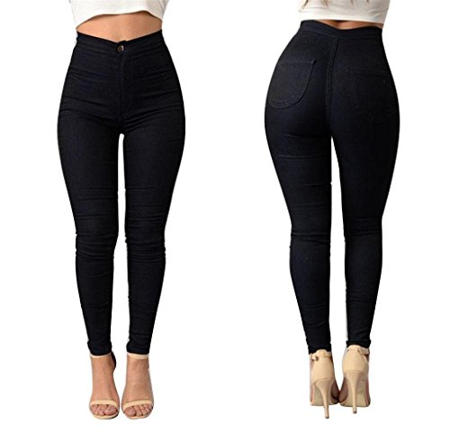 Denim Jeans,Morecome Fashion Women Multi Colors Girl Casual Jeans Pants (L, Black)