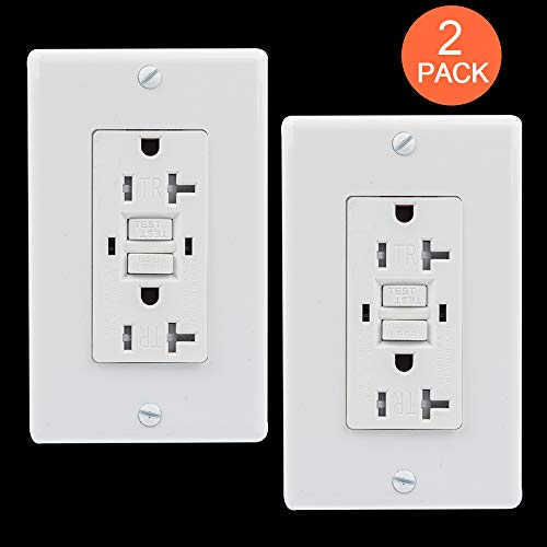GUKIBO 2 Pack GFCI Outlet Tamper-Resistant Receptacle with 2 LED Indicators, UL-listed 20A GFCI Self Test Receptacle Outlet, Ground Fault Circuit Interrupter with Auto-Test Function ()
