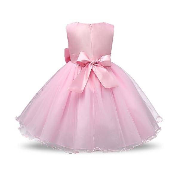 NNJXD Vestito Cerimonia Bambina,Ragazza Gonna a Fiori in Pizzo 3D Senza Maniche Vestito da Principessa delle Feste 2