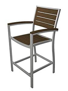 "41"" Earth-Friendly Recycled Patio Counter Chair - Teak Brown with Silver Frame"