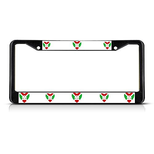 Love Heart Burundi Country Flag Black Metal License Plate Frame Tag Border (Cowgirl Bling License Plate Frame compare prices)
