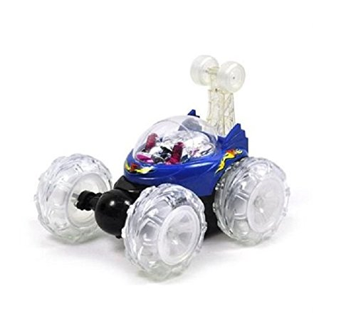 (Turbo 360 Twister Rc Stunt Car with Flashing Lights rechargeable blue or red)