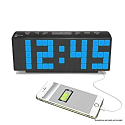 HDi Audio Large Display 2 Blue LED Display Digital Alarm Clock Radio with USB Charging for Smartphones & Tablets includes Dual Alarm, Battery Backup, In-door Temperature - HCR-221