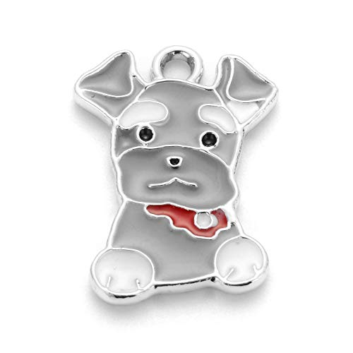 (MegaPet 5pcs Platinum & Gray Alloy Enamel Schnauzer Dog Pendants Dog Necklace Collar Charm Pet Tag ID Name Label Pendant Dog Puppy Supply Remembrance Necklace Memorial Jewelry DIY Crafts 22x15.5x1.5mm)