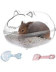Pipihome Hamster Zand Badkuip voor kleine huisdieren, sauna, toilet, wasruimte, box met schep, kleine dieren, badkamer voor Syrische racemuis, dwerg, cavia's, ratten, muizen
