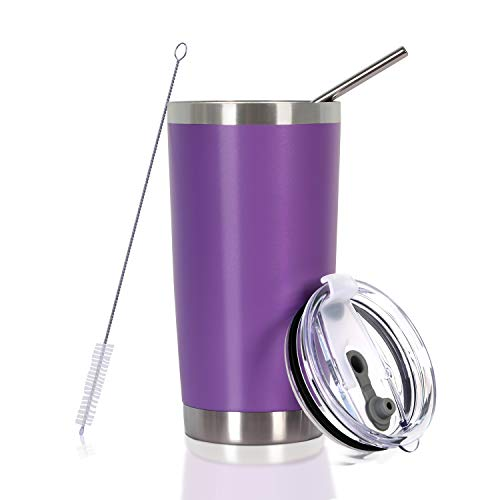 - 20 oz Stainless Steel Tumbler with Straw,Lid and Brush,Travel Coffee Mugs for Women and Men (Purple, 20 oz)