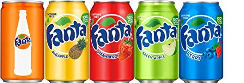 Fanta Five Flavor Variety Bundle of 7.5 Oz Cans: Orange, Berry, Strawberry, Pineapple, Green Apple (Orange Pineapple Soda)